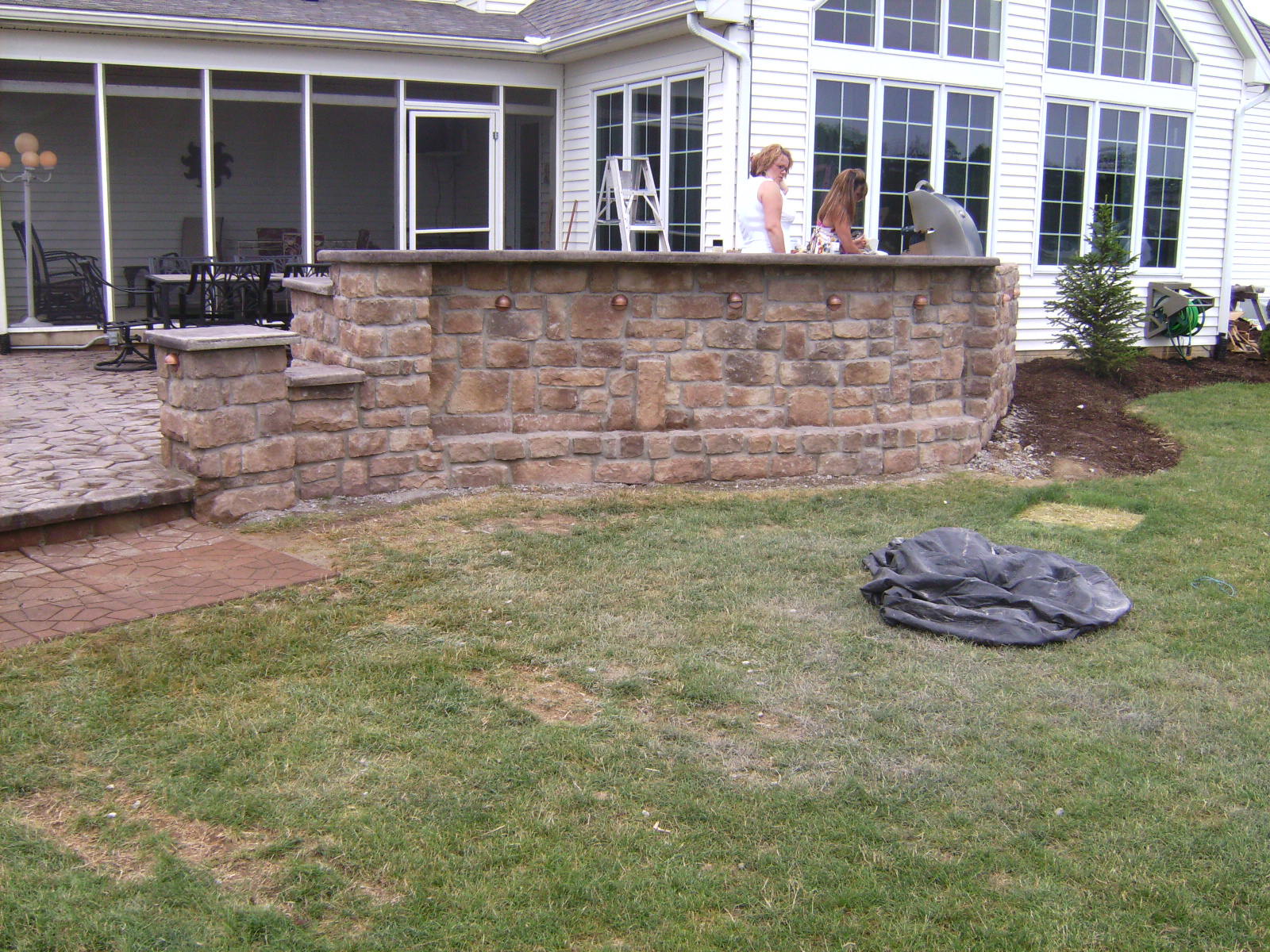 raised patio with wall